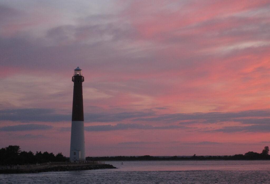 Beautiful Pink Sky over Barnegat Light, NJ